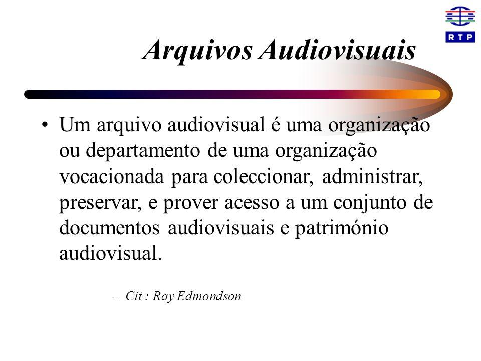 Arquivos Audiovisuais Um arquivo audiovisual é uma organização ou departamento de uma organização vocacionada para coleccionar, administrar, preservar, e prover acesso a um conjunto de documentos audiovisuais e património audiovisual.