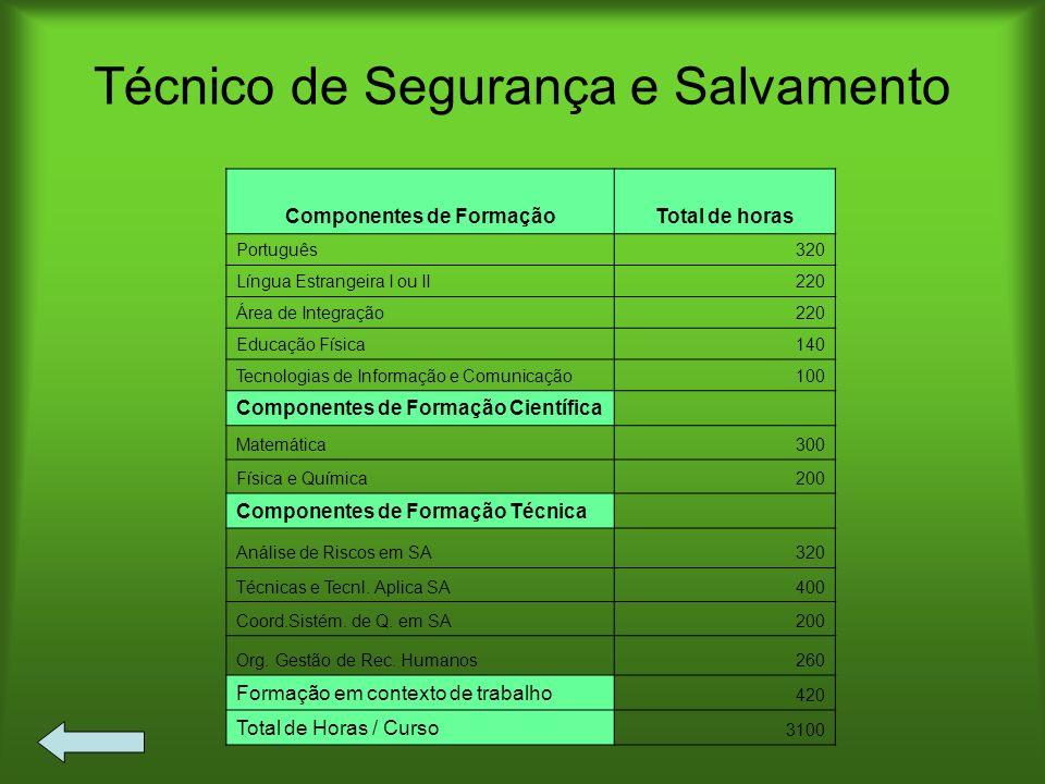 Técnico de Segurança e Salvamento Componentes de FormaçãoTotal de horas Português320 Língua Estrangeira I ou II220 Área de Integração220 Educação Físi