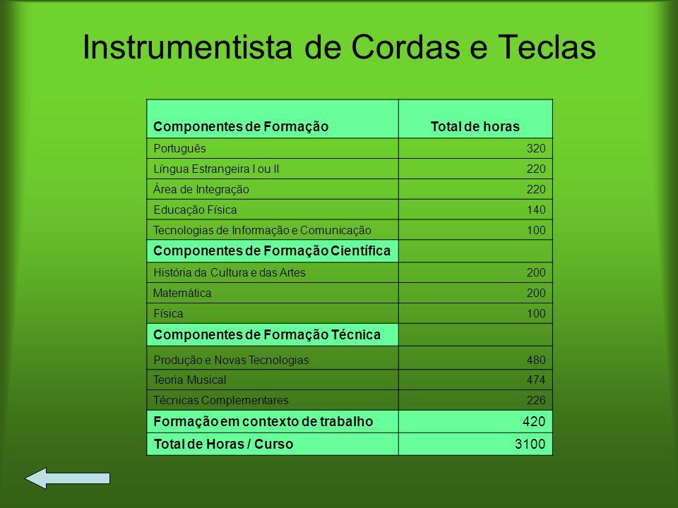 Instrumentista de Cordas e Teclas Componentes de FormaçãoTotal de horas Português320 Língua Estrangeira I ou II220 Área de Integração220 Educação Físi