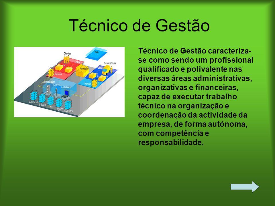 Técnico de Gestão Técnico de Gestão caracteriza- se como sendo um profissional qualificado e polivalente nas diversas áreas administrativas, organizat