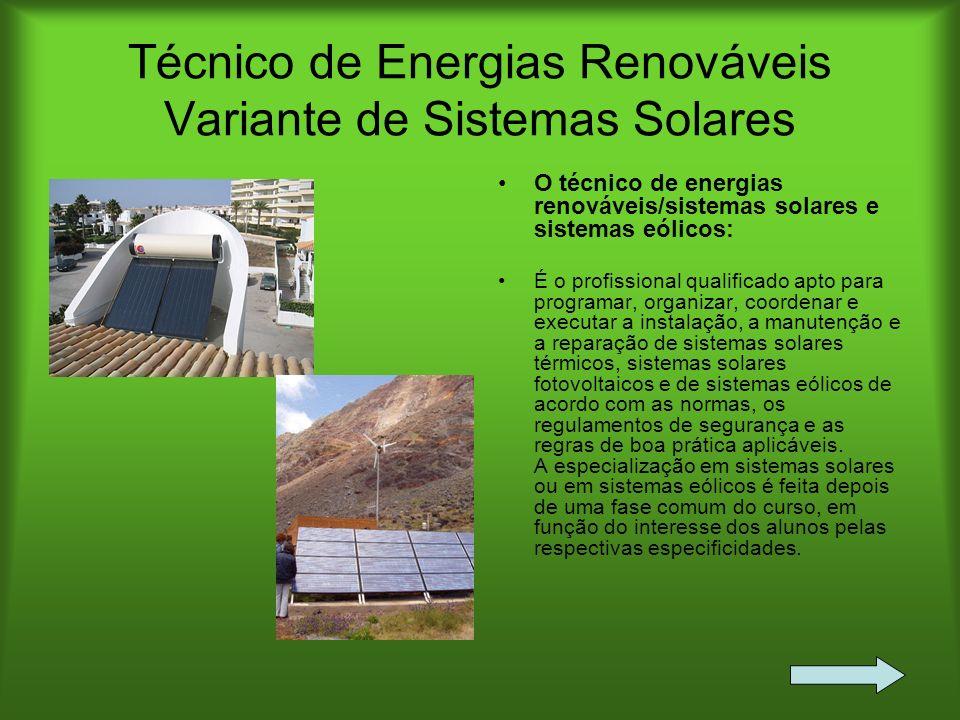 Técnico de Energias Renováveis Variante de Sistemas Solares O técnico de energias renováveis/sistemas solares e sistemas eólicos: É o profissional qua