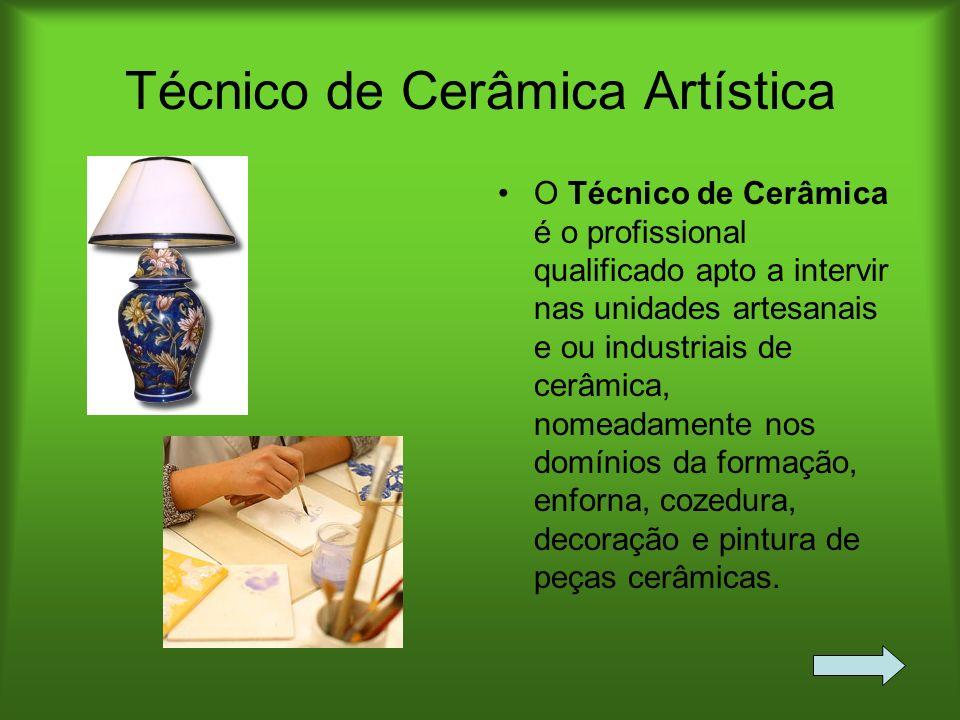 Técnico de Cerâmica Artística O Técnico de Cerâmica é o profissional qualificado apto a intervir nas unidades artesanais e ou industriais de cerâmica,