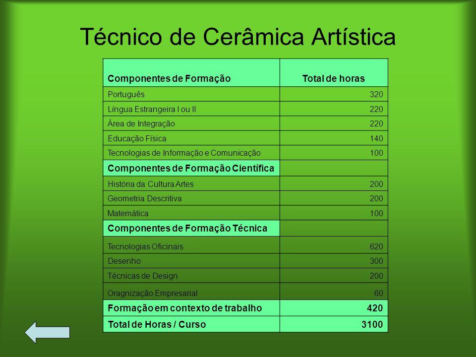 Técnico de Cerâmica Artística Componentes de FormaçãoTotal de horas Português320 Língua Estrangeira I ou II220 Área de Integração220 Educação Física14