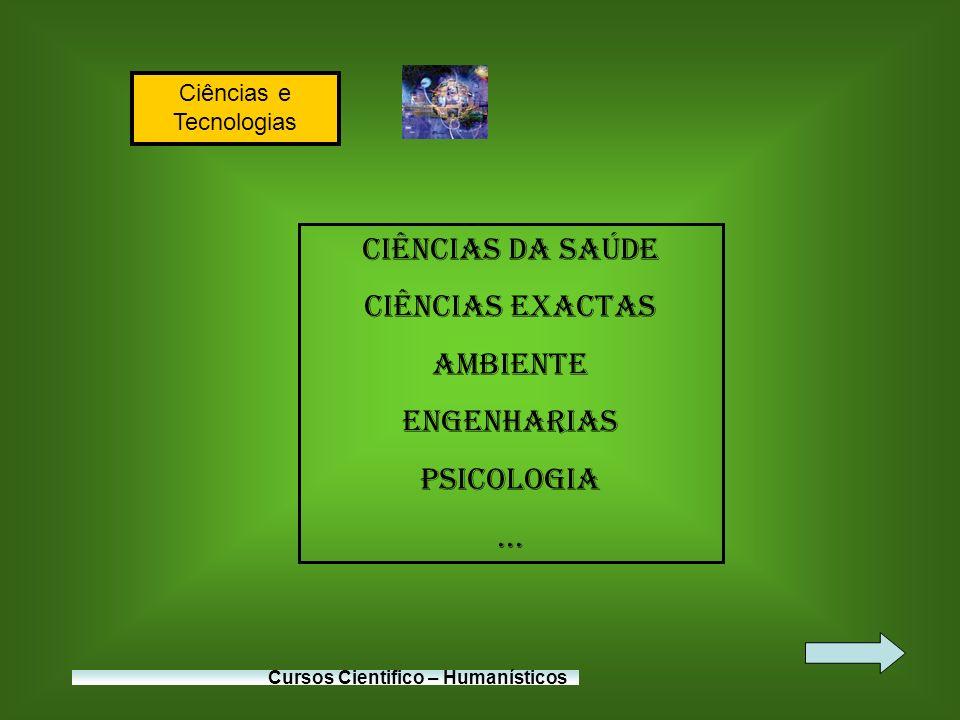 Ciências e Tecnologias Cursos Cientifico – Humanísticos Ciências da Saúde Ciências Exactas Ambiente Engenharias Psicologia...