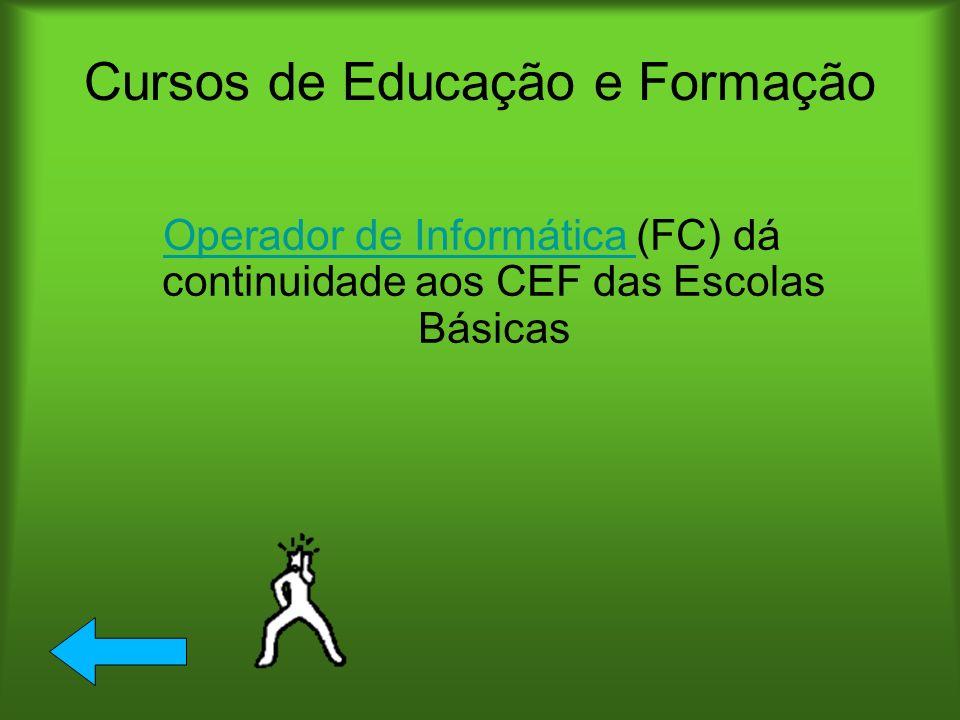 Cursos de Educação e Formação Operador de Informática Operador de Informática (FC) dá continuidade aos CEF das Escolas Básicas