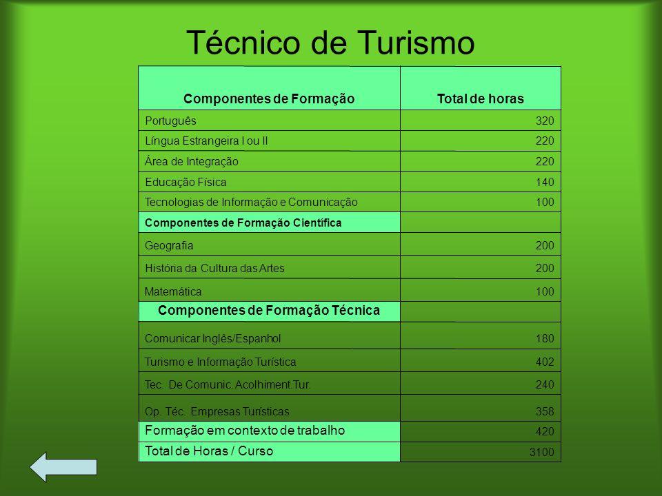 Técnico de Turismo 3100 Total de Horas / Curso 420 Formação em contexto de trabalho 358Op. Téc. Empresas Turísticas 240Tec. De Comunic. Acolhiment.Tur