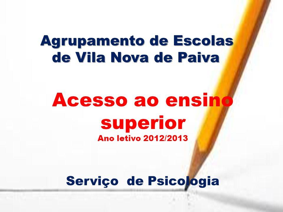 Agrupamento de Escolas de Vila Nova de Paiva Acesso ao ensino superior Ano letivo 2012/2013 Serviço de Psicologia