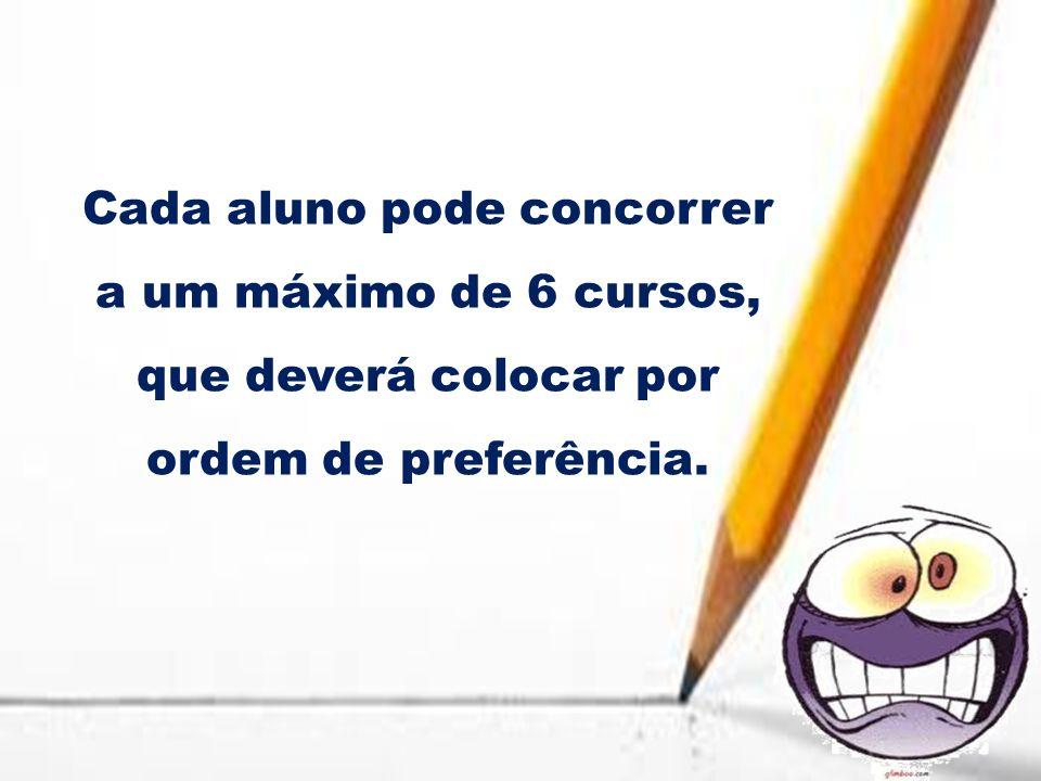 Cada aluno pode concorrer a um máximo de 6 cursos, que deverá colocar por ordem de preferência.