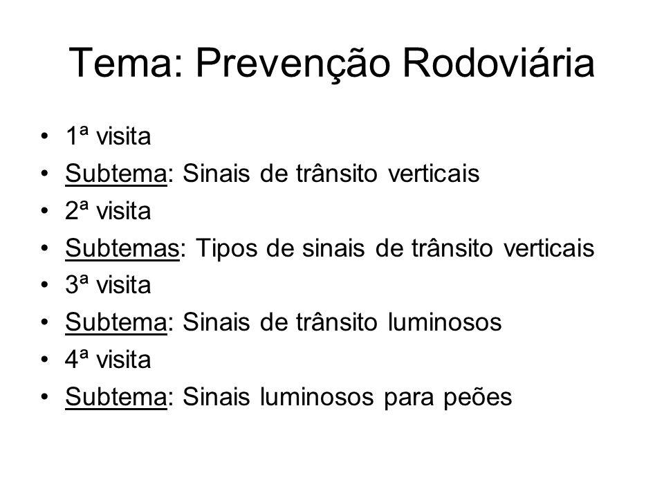 Tema: Prevenção Rodoviária 1ª visita Subtema: Sinais de trânsito verticais 2ª visita Subtemas: Tipos de sinais de trânsito verticais 3ª visita Subtema