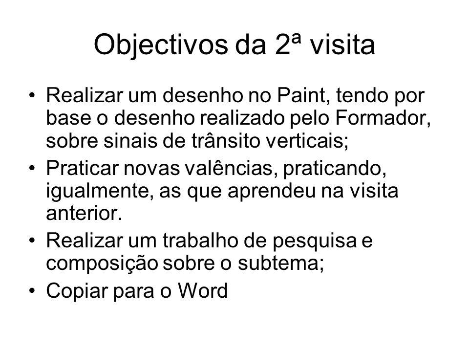 Objectivos da 2ª visita Realizar um desenho no Paint, tendo por base o desenho realizado pelo Formador, sobre sinais de trânsito verticais; Praticar n
