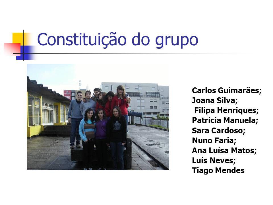 Constituição do grupo Carlos Guimarães; Joana Silva; Filipa Henriques; Patrícia Manuela; Sara Cardoso; Nuno Faria; Ana Luísa Matos; Luís Neves; Tiago