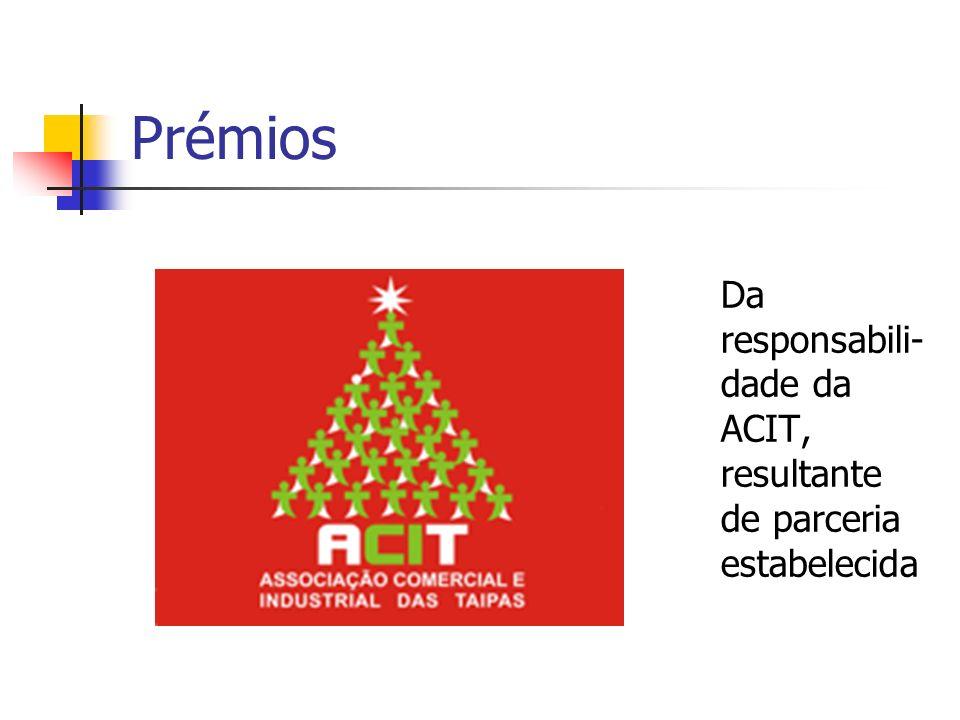 Prémios Da responsabili- dade da ACIT, resultante de parceria estabelecida