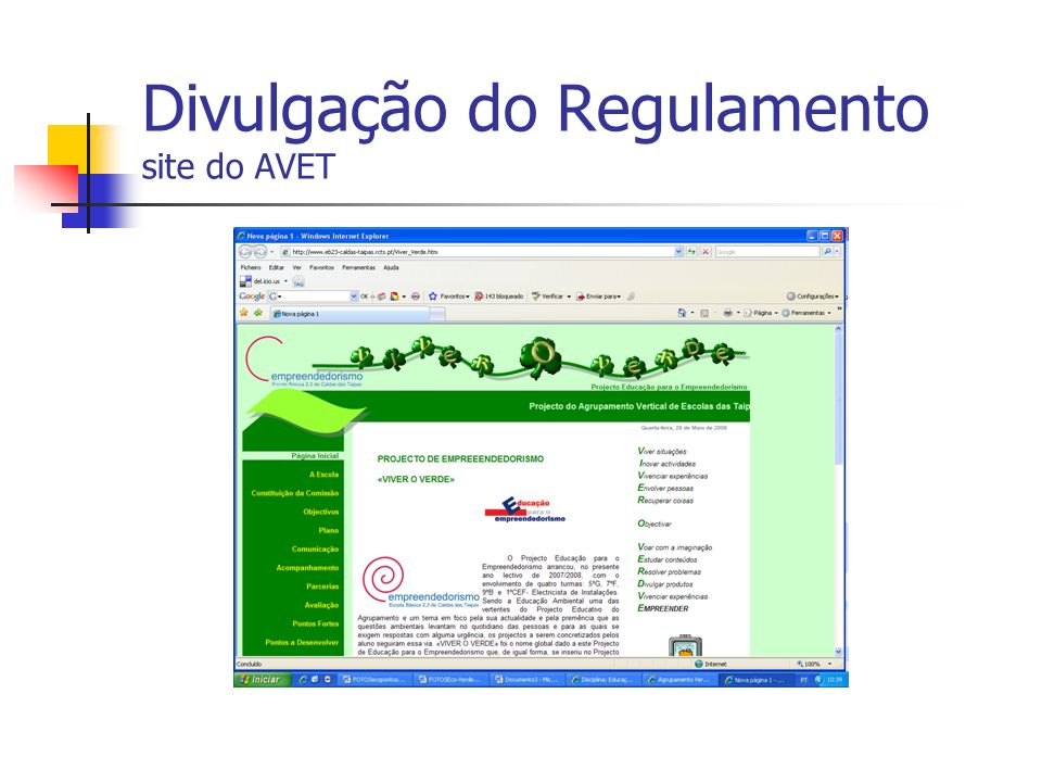 Divulgação do Regulamento site do AVET