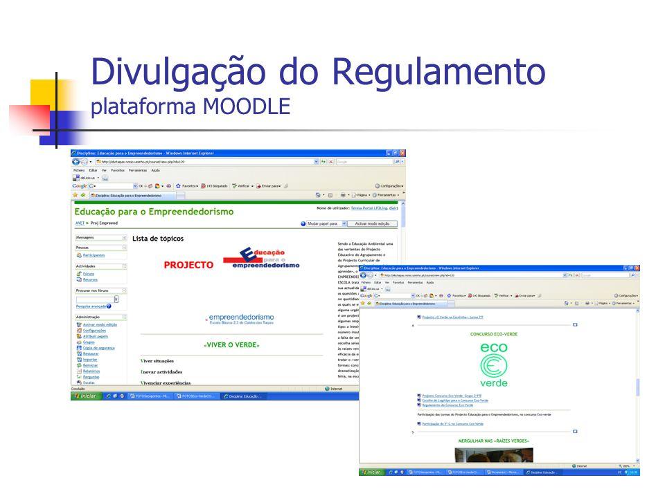 Divulgação do Regulamento plataforma MOODLE