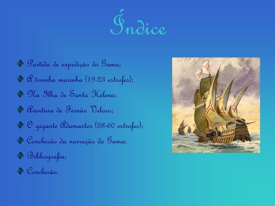 Índice Partida de expedição do Gama; A tromba marinha (19-23 estrofes); Na Ilha de Santa Helena; Aventura de Fernão Veloso; O gigante Adamastor (38-60 estrofes); Conclusão da narração do Gama; Bibliografia; Conclusão.