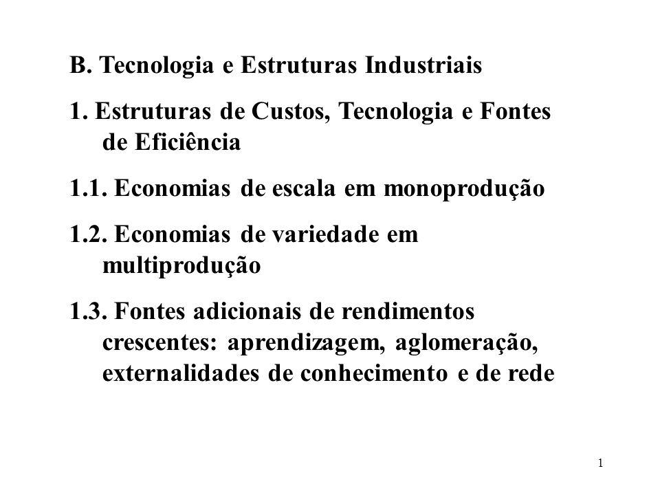 1 B. Tecnologia e Estruturas Industriais 1. Estruturas de Custos, Tecnologia e Fontes de Eficiência 1.1. Economias de escala em monoprodução 1.2. Econ