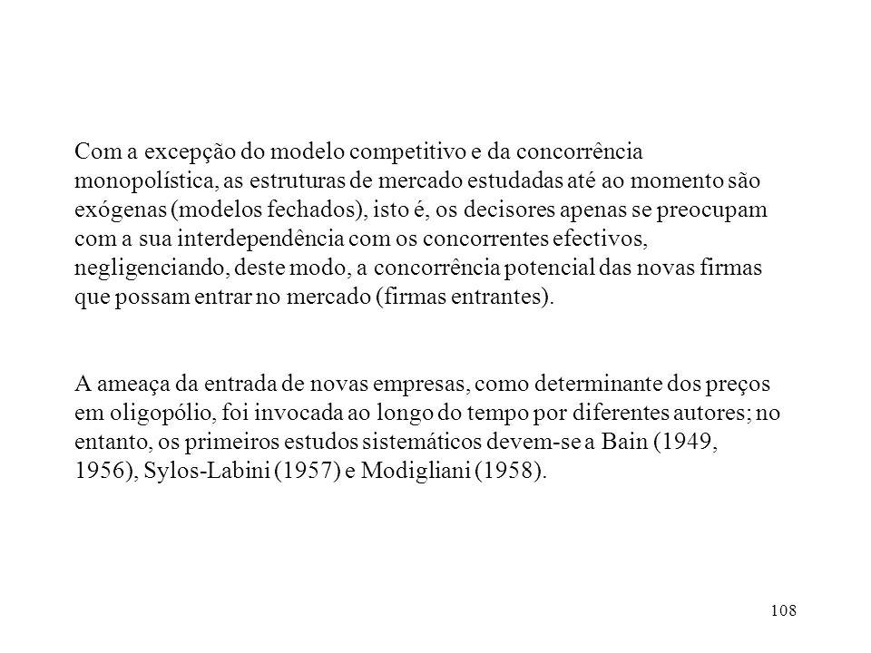 108 Com a excepção do modelo competitivo e da concorrência monopolística, as estruturas de mercado estudadas até ao momento são exógenas (modelos fech