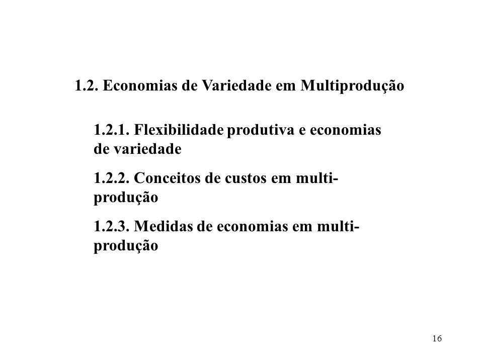 16 1.2. Economias de Variedade em Multiprodução 1.2.1. Flexibilidade produtiva e economias de variedade 1.2.2. Conceitos de custos em multi- produção