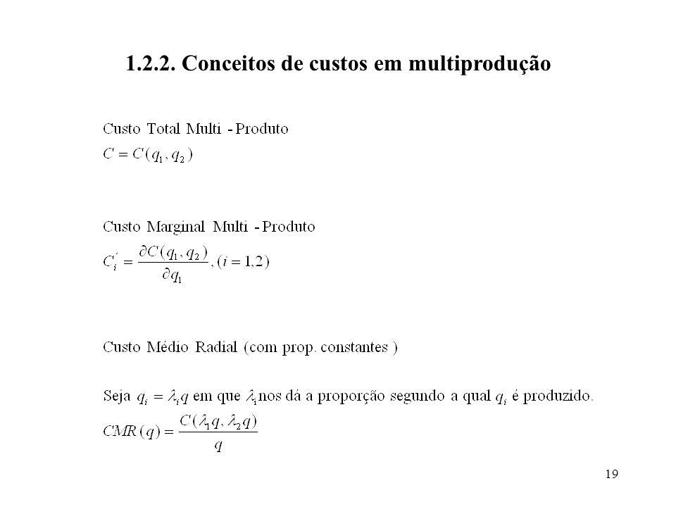 19 1.2.2. Conceitos de custos em multiprodução