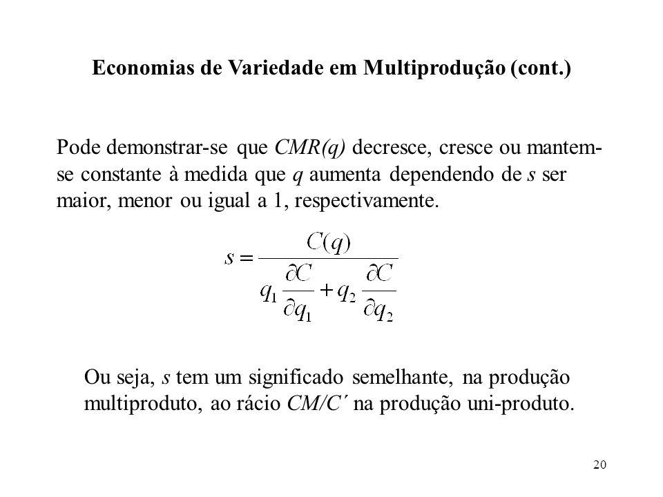 20 Economias de Variedade em Multiprodução (cont.) Pode demonstrar-se que CMR(q) decresce, cresce ou mantem- se constante à medida que q aumenta depen