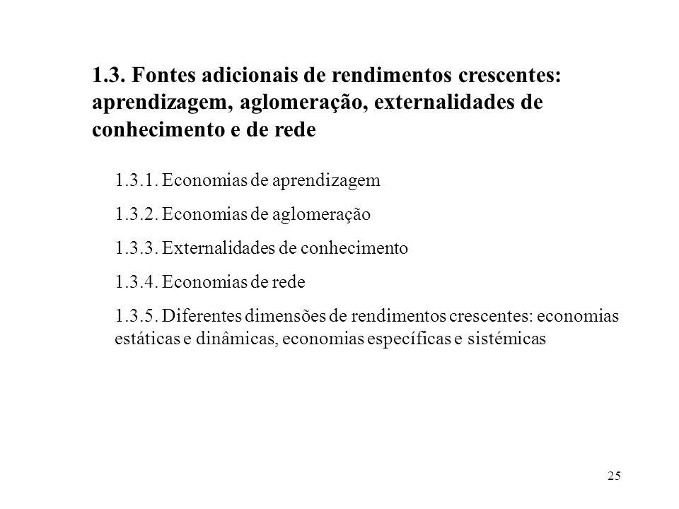 25 1.3. Fontes adicionais de rendimentos crescentes: aprendizagem, aglomeração, externalidades de conhecimento e de rede 1.3.1. Economias de aprendiza