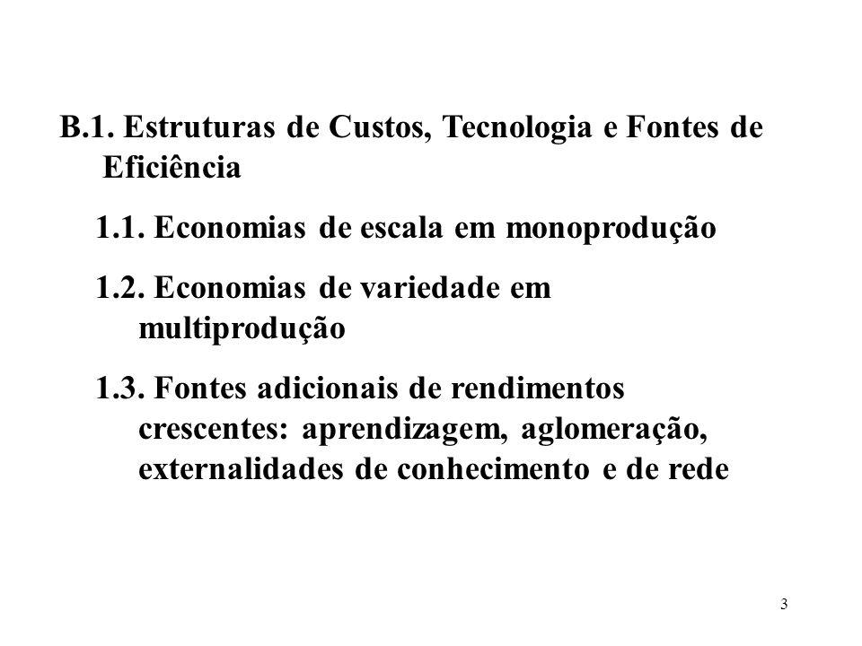 3 1.1. Economias de escala em monoprodução 1.2. Economias de variedade em multiprodução 1.3. Fontes adicionais de rendimentos crescentes: aprendizagem