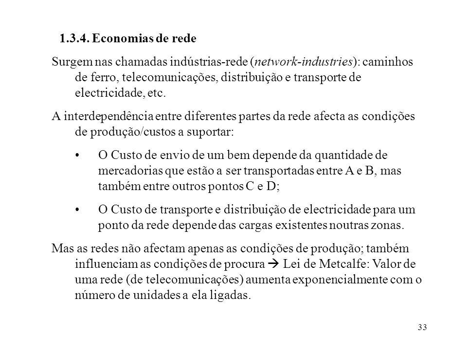33 1.3.4. Economias de rede Surgem nas chamadas indústrias-rede (network-industries): caminhos de ferro, telecomunicações, distribuição e transporte d