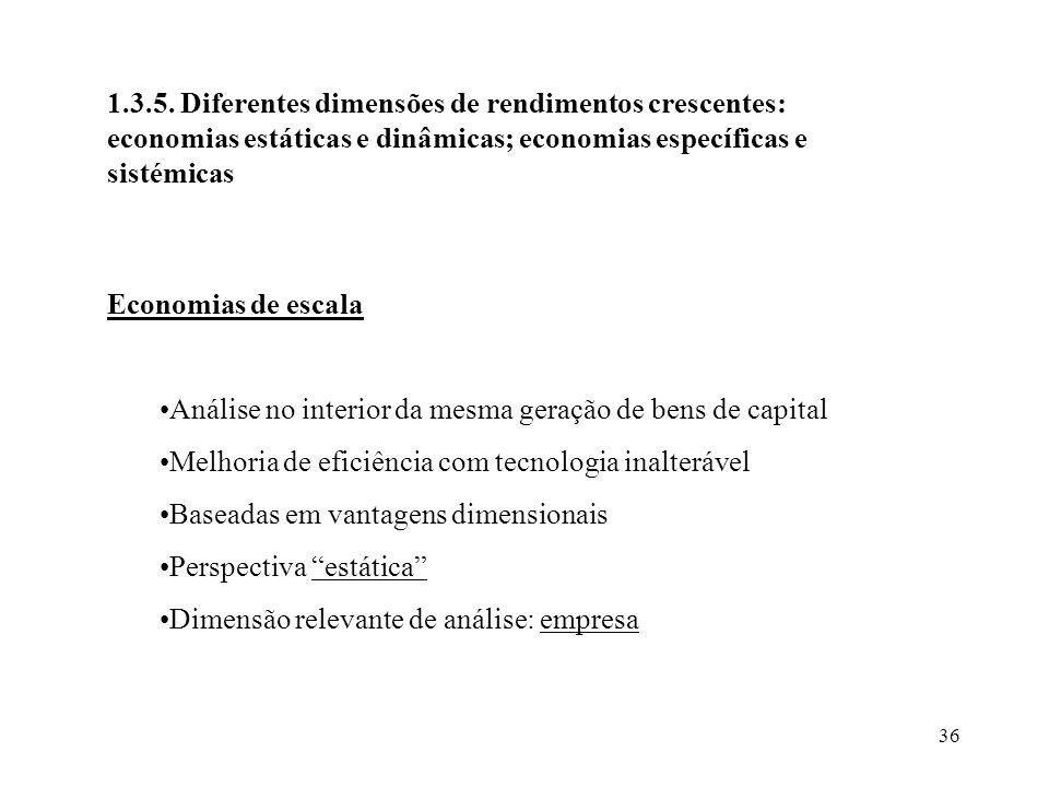 36 1.3.5. Diferentes dimensões de rendimentos crescentes: economias estáticas e dinâmicas; economias específicas e sistémicas Economias de escala Anál