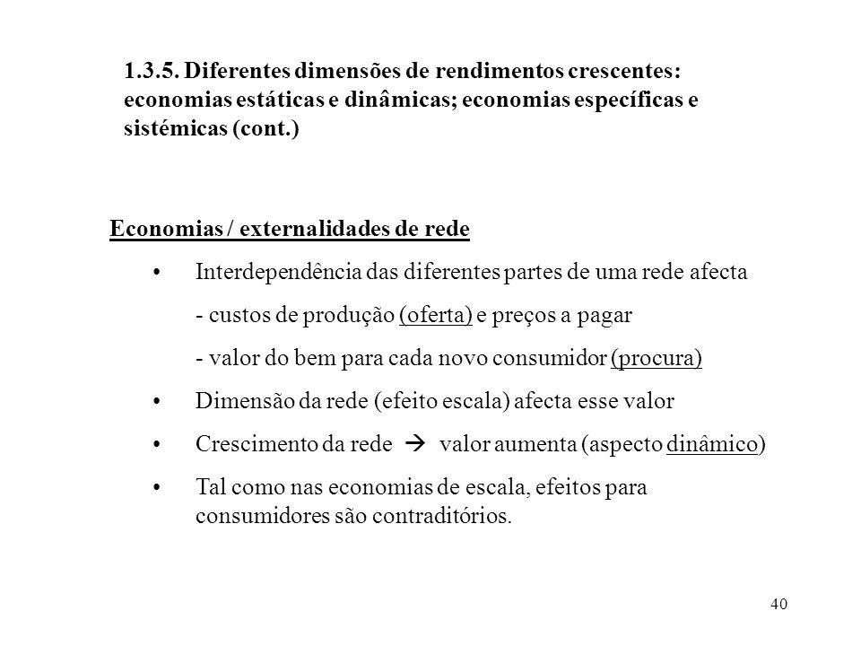 40 1.3.5. Diferentes dimensões de rendimentos crescentes: economias estáticas e dinâmicas; economias específicas e sistémicas (cont.) Economias / exte
