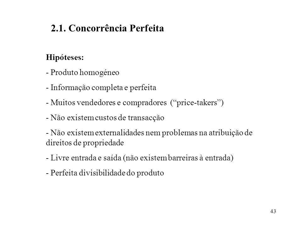 43 2.1. Concorrência Perfeita Hipóteses: - Produto homogéneo - Informação completa e perfeita - Muitos vendedores e compradores (price-takers) - Não e