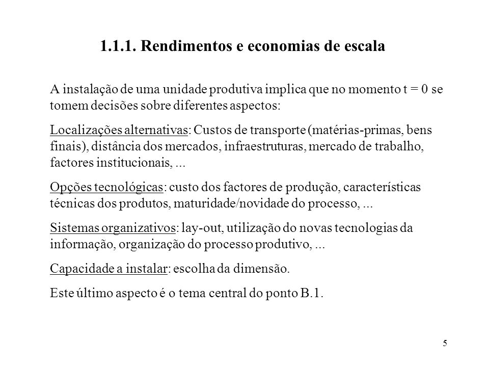 5 1.1.1. Rendimentos e economias de escala A instalação de uma unidade produtiva implica que no momento t = 0 se tomem decisões sobre diferentes aspec