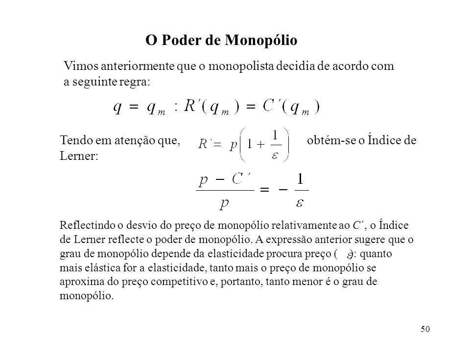 50 O Poder de Monopólio Vimos anteriormente que o monopolista decidia de acordo com a seguinte regra: Tendo em atenção que, obtém-se o Índice de Lerne