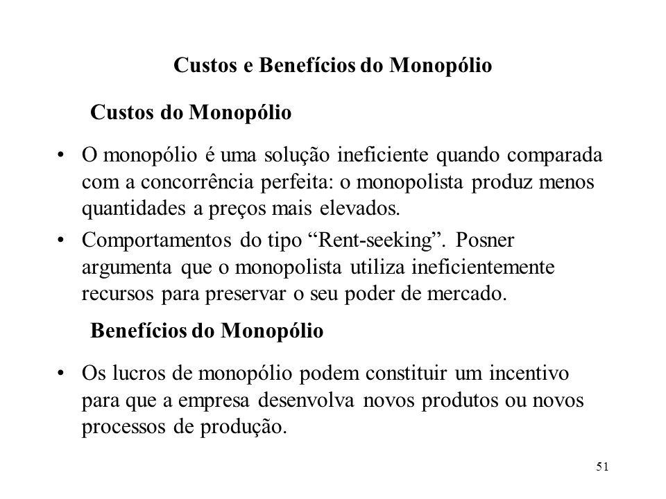 51 Custos e Benefícios do Monopólio Custos do Monopólio O monopólio é uma solução ineficiente quando comparada com a concorrência perfeita: o monopoli