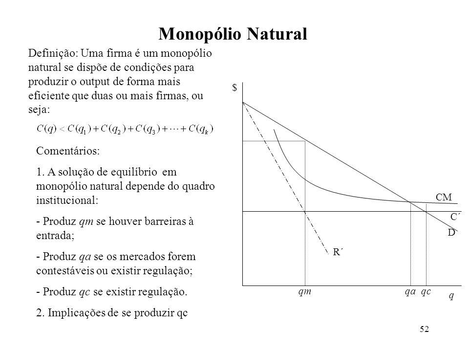 52 Monopólio Natural q $ CM C´ D R´ qmqaqc Comentários: 1. A solução de equilíbrio em monopólio natural depende do quadro institucional: - Produz qm s