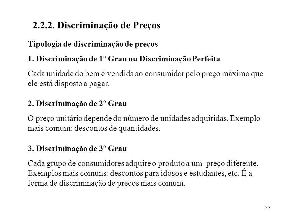 53 2.2.2. Discriminação de Preços Tipologia de discriminação de preços 1. Discriminação de 1º Grau ou Discriminação Perfeita Cada unidade do bem é ven