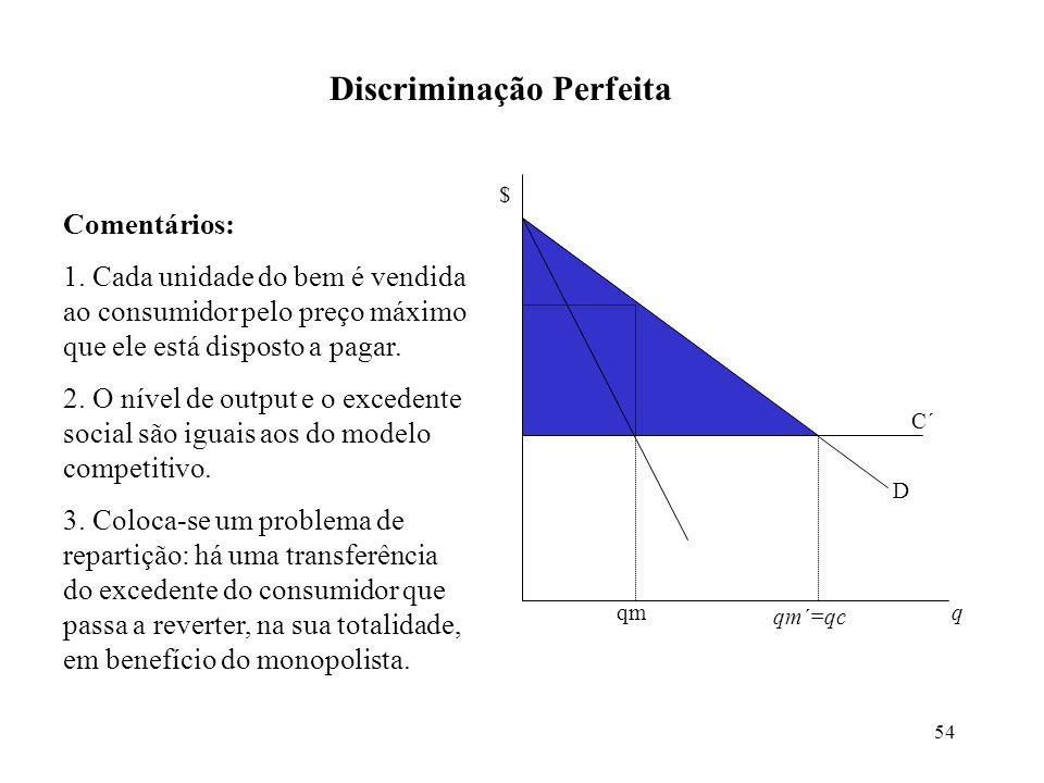 54 Discriminação Perfeita $ q qm´=qc D C´ Comentários: 1. Cada unidade do bem é vendida ao consumidor pelo preço máximo que ele está disposto a pagar.