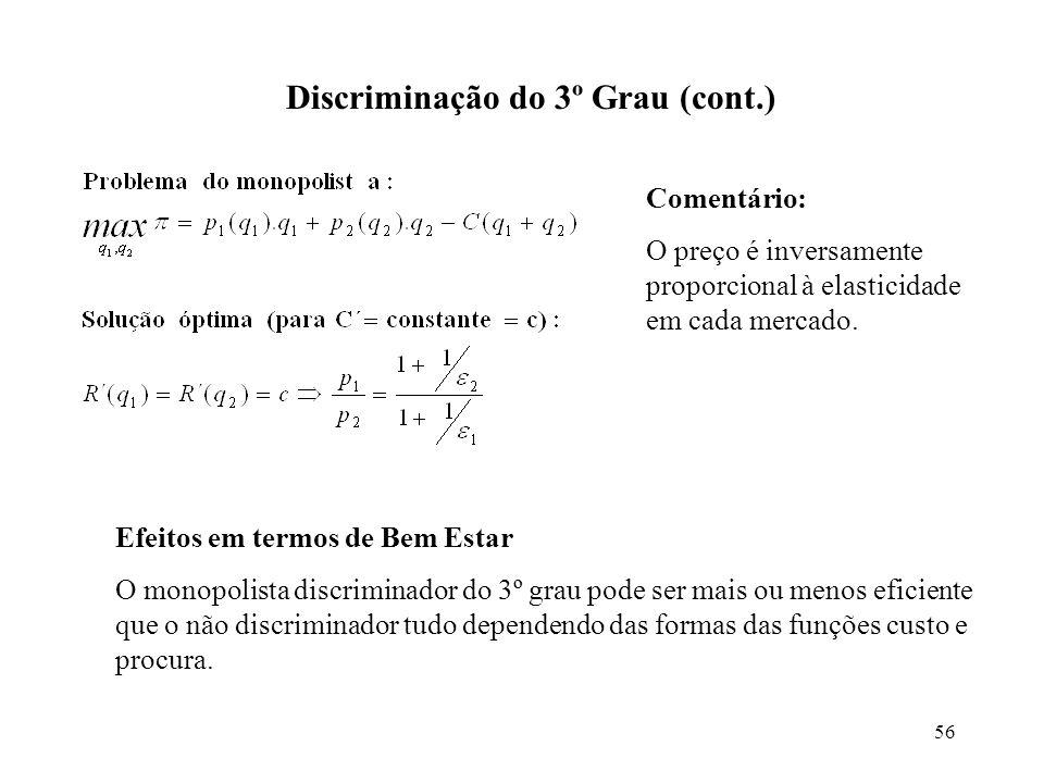 56 Discriminação do 3º Grau (cont.) Comentário: O preço é inversamente proporcional à elasticidade em cada mercado. Efeitos em termos de Bem Estar O m