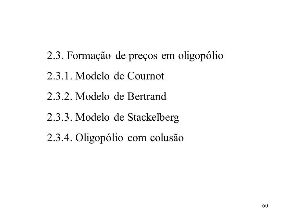 60 2.3. Formação de preços em oligopólio 2.3.1. Modelo de Cournot 2.3.2. Modelo de Bertrand 2.3.3. Modelo de Stackelberg 2.3.4. Oligopólio com colusão