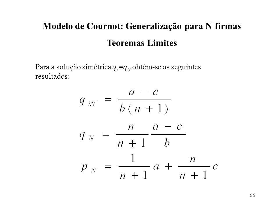 66 Modelo de Cournot: Generalização para N firmas Teoremas Limites Para a solução simétrica q i =q N obtêm-se os seguintes resultados: