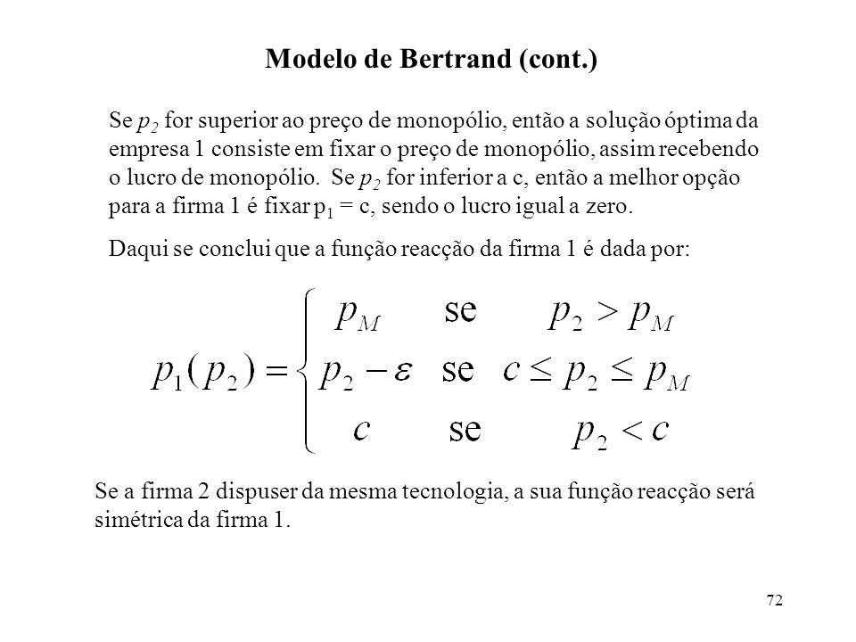 72 Modelo de Bertrand (cont.) Se p 2 for superior ao preço de monopólio, então a solução óptima da empresa 1 consiste em fixar o preço de monopólio, a