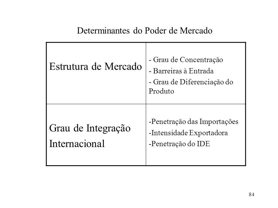 84 Estrutura de Mercado - Grau de Concentração - Barreiras à Entrada - Grau de Diferenciação do Produto Grau de Integração Internacional -Penetração d