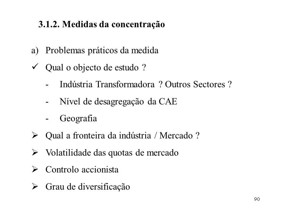 90 3.1.2. Medidas da concentração a)Problemas práticos da medida Qual o objecto de estudo ? -Indústria Transformadora ? Outros Sectores ? -Nível de de