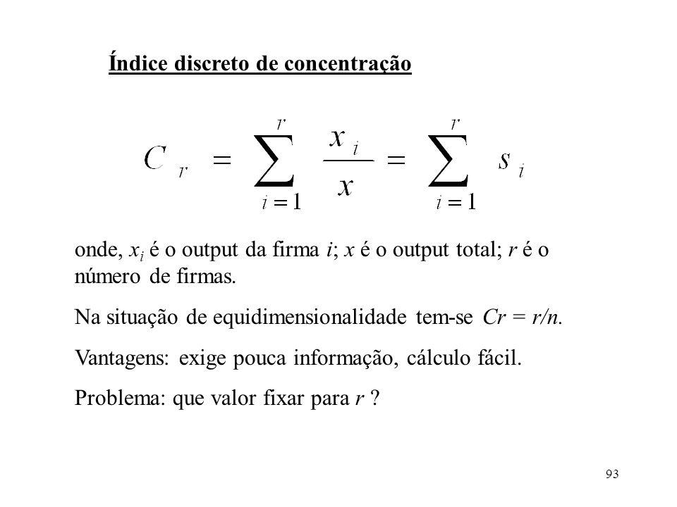 93 Índice discreto de concentração onde, x i é o output da firma i; x é o output total; r é o número de firmas. Na situação de equidimensionalidade te