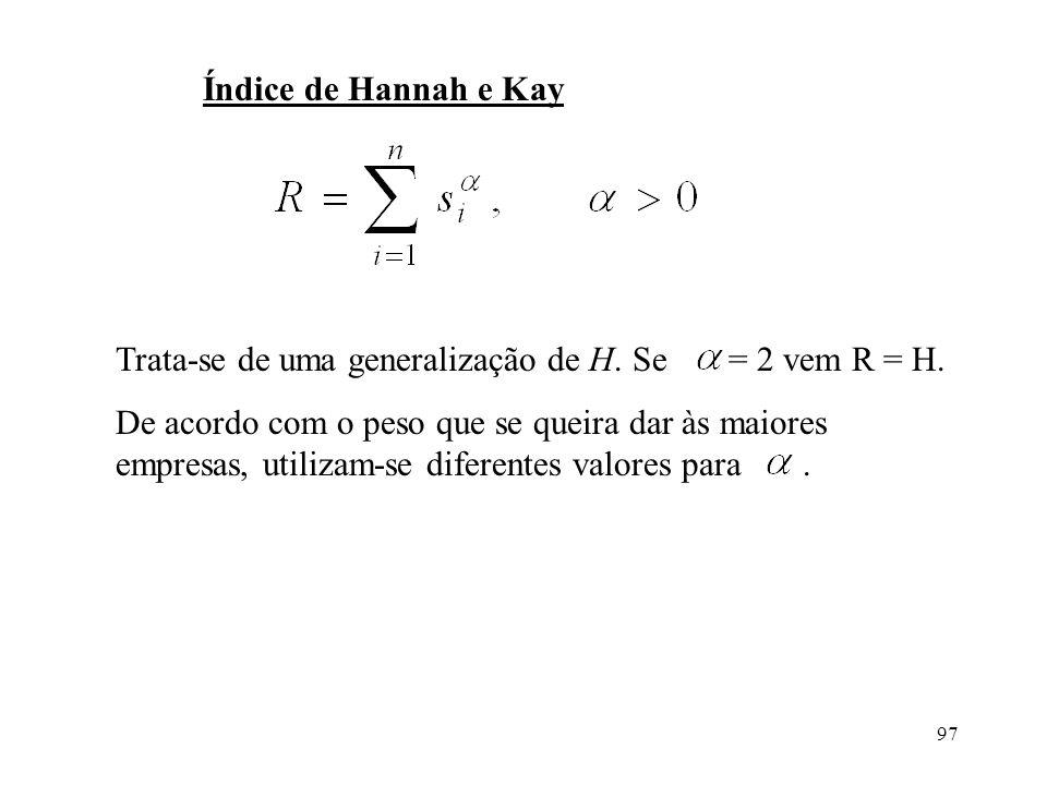 97 Índice de Hannah e Kay Trata-se de uma generalização de H. Se = 2 vem R = H. De acordo com o peso que se queira dar às maiores empresas, utilizam-s