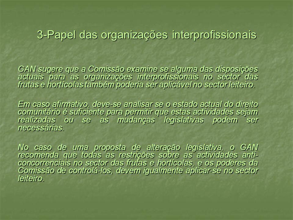3-Papel das organizações interprofissionais GAN sugere que a Comissão examine se alguma das disposições actuais para as organizações interprofissionais no sector das frutas e hortícolas também poderia ser aplicável no sector leiteiro.