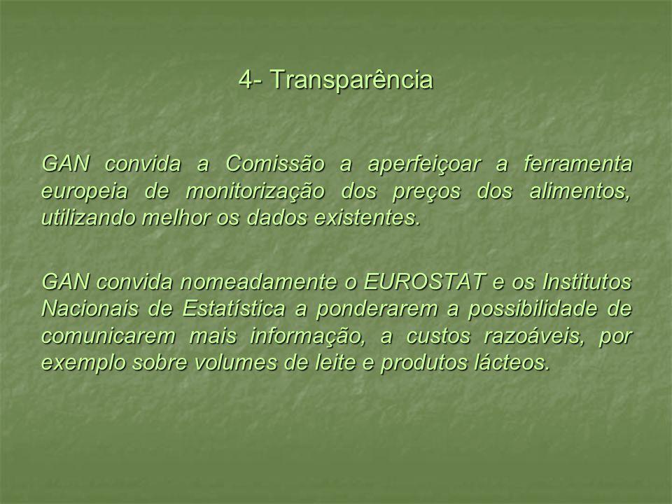 4- Transparência GAN convida a Comissão a aperfeiçoar a ferramenta europeia de monitorização dos preços dos alimentos, utilizando melhor os dados existentes.