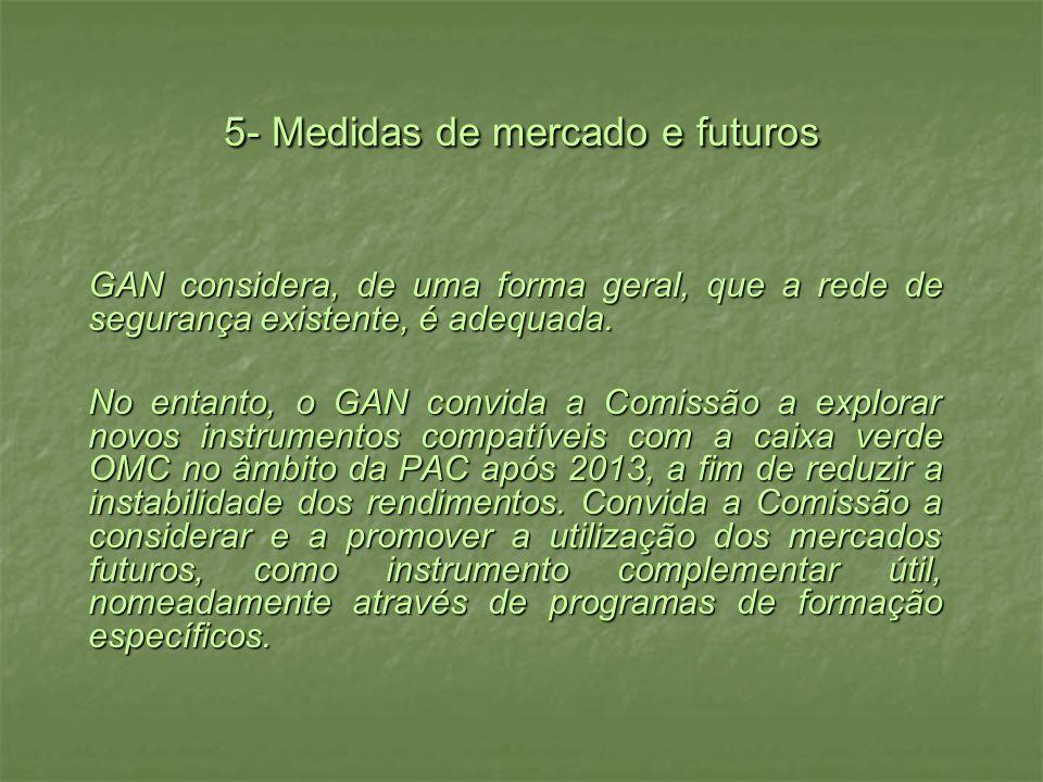 5- Medidas de mercado e futuros GAN considera, de uma forma geral, que a rede de segurança existente, é adequada. No entanto, o GAN convida a Comissão