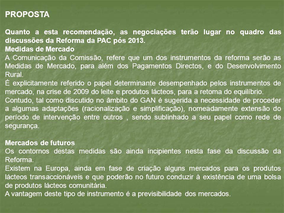 PROPOSTA Quanto a esta recomendação, as negociações terão lugar no quadro das discussões da Reforma da PAC pós 2013. Medidas de Mercado A Comunicação