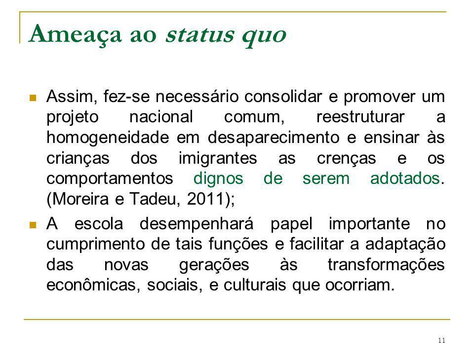 11 Ameaça ao status quo Assim, fez-se necessário consolidar e promover um projeto nacional comum, reestruturar a homogeneidade em desaparecimento e en