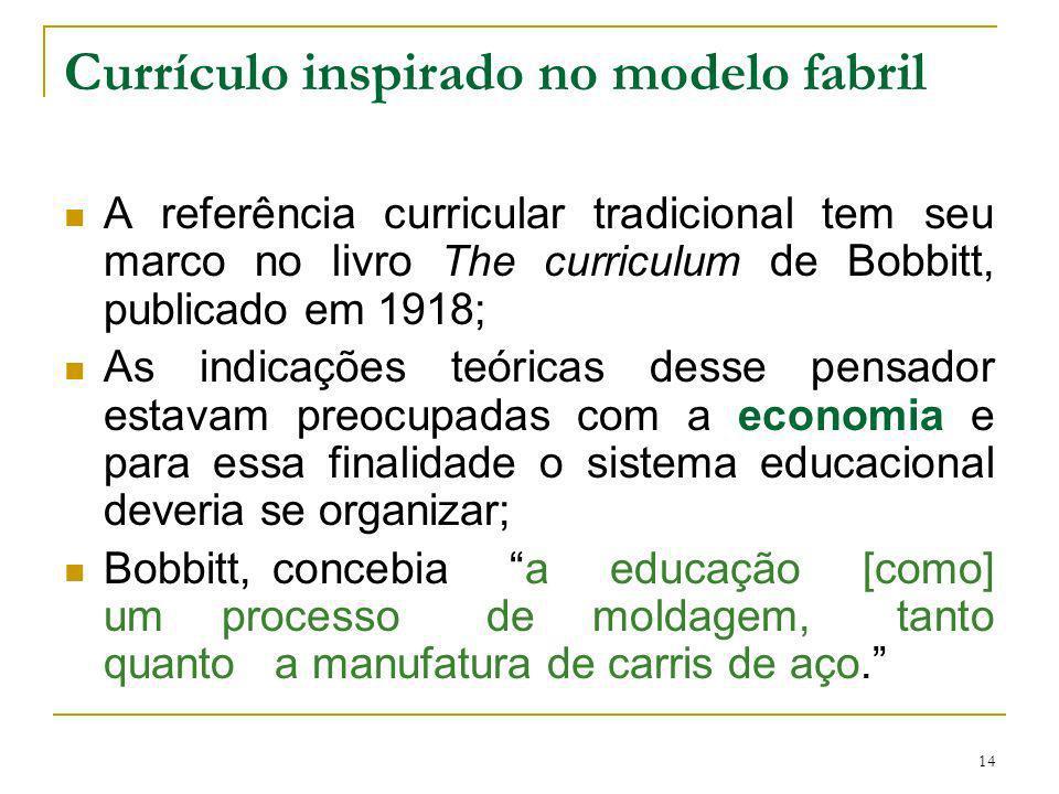 14 Currículo inspirado no modelo fabril A referência curricular tradicional tem seu marco no livro The curriculum de Bobbitt, publicado em 1918; As in